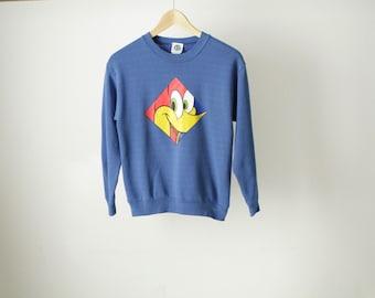 Looney Tunes 90s VINTAGE blue crossover sweatshirt WOODY the woodpecker