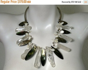 ON SALE 20% OFF Statement Necklace, Bib Necklace, .925 Sterling Silver, Quartz Crystal Icicles, Mother Of Pearl