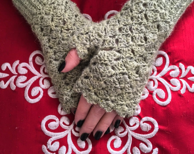 Alpaca Fingerless Mitts, Crocheted Fingerless Mitts, Fingerless Gloves