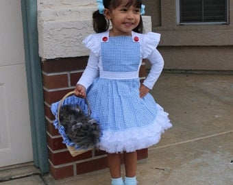 Wizard of Oz Child or Adult Apron or Dress - Socks - Blue Gingham - Lace - Plus Sizes Too - Toddler - Girl - Women Costume - Halloween
