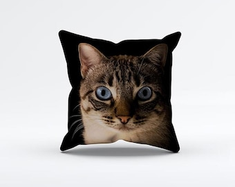 Cat Face Pillow Cover 15 x 15 inch, Kitten cushion cover, Decorative Pillow Cover, Home decor