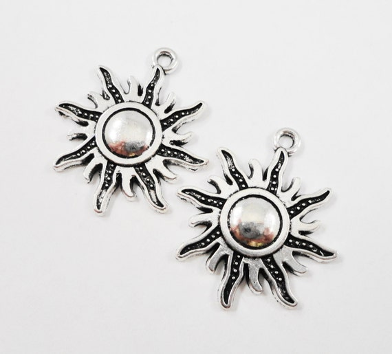 Silver Sun Pendants 28x23mm Antique Silver Sun Charms, Sunshine Pendants, Sun Ray Charms, Weather Charms, Metal Charms, Craft Supplies, 10pc
