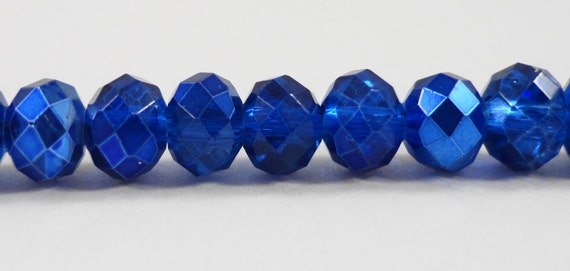 "Fire Polished Glass Beads 6x4mm Half Cobalt Blue Half Metallic Crystal Rondelle Beads, Chinese Crystal Beads on a 9"" Strand with 50 Beads"