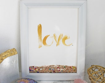 "LOVE - Sparkle Original Painting Acrylic on 9x12"" 140 lb. paper - Original (only 1)"