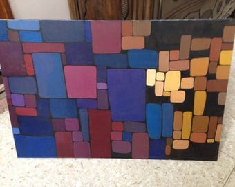Midcentury Modern Painting Squares Rectangles Signed Dated