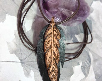 Wooden feather neclace, Leather feather pendant, Burnt wood boho necklace, Bohemian leather jewelry, Pyrographed wood feathjer pendant