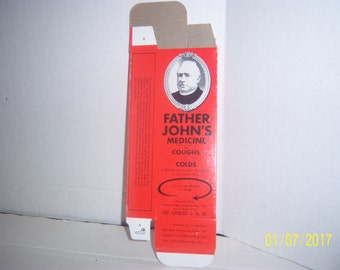 1950's Father John's Medicine Lowell, Mass 7 3/4  inch amber medicine bottle BOX ONLY