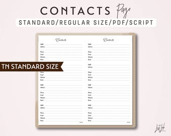 STANDARD Size TN Contacts Page - Traveler's Notebook Printable Insert PDF - Script Theme