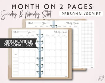 PERSONAL Size Month on 2 Pages with Variation - Printable Ring Planner Insert - Script Theme