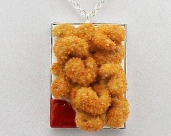 Fried Shrimp with Marinara Sauce Necklace - Food Jewelry - Junk Food Jewelry - Polymer Clay Jewelry