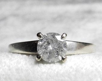 Diamond Ring .63 Ct Diamond Ring 14K Salt & Pepper Diamond Ring June Birthstone Round Cut Brilliant Half Carat Plus Diamond Ring 14K
