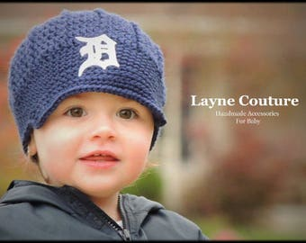 CLEARANCE!! Ready to Ship!! The Original- Detroit Tigers Inspired Newsboy Hat with Bow Option / Layne Couture