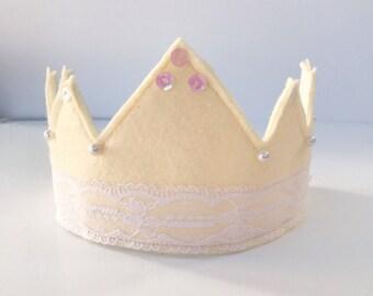 Cream Princess Crown...READY TO SHIP