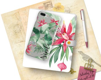 Tropical clear iPhone case, Fuchsia red flowers with green fronds, Summer outdoors accessory, Monogrammed gifts for her (1764)