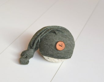 Simple forest green sleepy hat long tail hat Newborn baby boy or girl photography prop upcycled style rustic wooden button