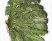 oliverdrab Large Double Layer Ostrich Feather Fan 34''x60'' XL Burlesque Dance