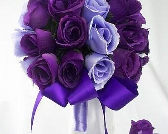 Purple wedding bouquet, Set packages roses, Bridal bouquet sets, Purple bridal bouquet, Lavender wedding bouquet, Purple silk flowers light