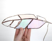"""Stained Glass Feather 9"""" - medium - soft pink, clear, white iridescent glass with leather for hanging - 15"""