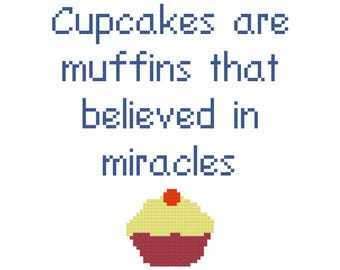 Miracle Cupcake Cross Stitch Pattern, Digital Download PDF