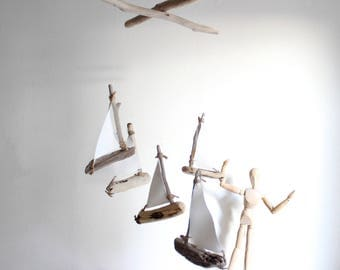 Sailboats Driftwood Mobile -- Boats Nautical Mobile -- Rustic Wooden Ship Decoration -- Baby Shower Gift -- Ready to Ship