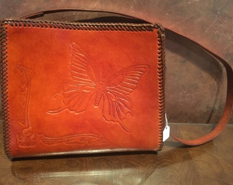 Hand tooled leather Buterfly Purse
