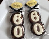 8 Milk Chocolate #60 Double Oreo Cookie Favors Number Sixty 60th Anniversary Birthday Party