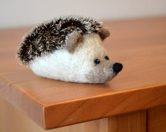 NEEDLE FELT HEDGEHOG / Wool Felt Hedgehog / Mohair Hedgehog / Made in Maine by Caryn Burwood of Purple Moose Felting