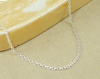 Silver Chain Necklace - 18 Inch Small Link Silver Plated Cable Chain |CH1-S18