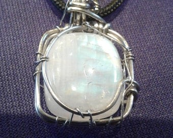 rainbow moonstone wire wrapped pendant, handmade silver rainbow moonstone necklace, rainbow moonstone in silver, moonstone gypsy jewelry