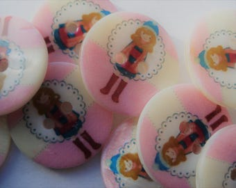 20mm Flat Round 2-Hole Freshwater Shell Buttons With Girl, Printing and Sewing Buttons Pack of 9, AS04