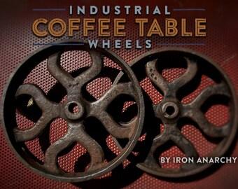 Antique Iron Wheels, Coffee Table Wheels, Cast Iron Wheels