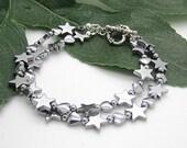 Haematite Heart And Star Bracelet, Silver Star Jewellery, Double Strand Heart Bracelet, Star Stone Bracelet, For Her Love You Gifts,