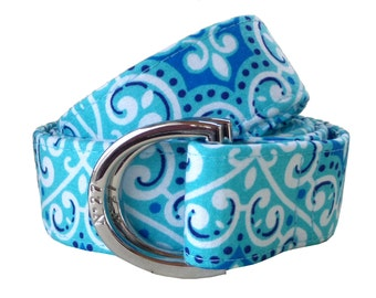 Blue Lace Pattern Fabric Belt/ Fabric Belt/Woman's D-Ring Belt/ Colorful Belt/ Canvas Belt/ Preppy Belt/ Blue D-Ring Belt