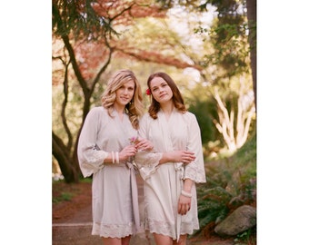 Veil of Mist. 2 short robes in faux crepe de chine silk trimmed with lace. Bridal silk boudoir robe. Bridesmaids robes in neutral tones.