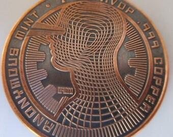 Bitcon - Mentality 1 oz .999 Pure Copper Challenge Coin with Black Patina