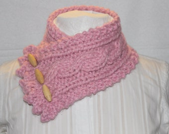 Fishermans Wife Cowl, Cable Knit Cowl, Warm Winter Cowl, Color Name Blossom Pink Cowl