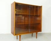 HOLD mid century modern walnut & oak display bar with glass doors