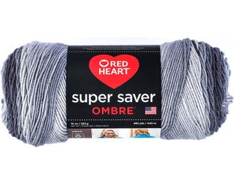 Red Heart Super Saver Ombre Yarn Anthracite Color Gradient Yarn