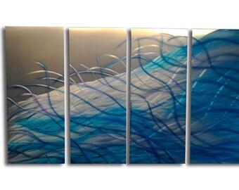 Metal Wall Art Abstract Aluminum Sculpture Modern Decor - Resonance Blue 36