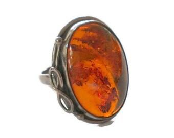 Vintage Modern Amber Ring Sterling Silver Size 8