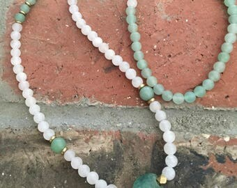Tibetan Prayer Beads - Buddhist Rosary - 108 Bead - Mala Wrap Bracelet  - Meditation Mala - Yoga Beads - Matte Rose Quartz/Amazonite