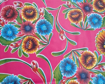 "70"" x 47.5"" Rectangle Oilcloth Tablecloth PINK Spring Bloom (NO HOLE) Blue Trim Hole Oil Cloth Vinyl Pool Patio Bbq Party Rv Holiday USAmade"