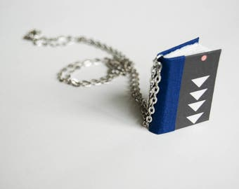 Miniature Book Necklace. Handmade Book. Little Library Jewelry. Book Jewelry. Tiny Book. Wearable Library Necklace. Personalize it Nerd gift