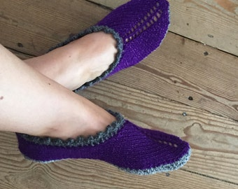 Hand knitted adult pixie slippers, knitted slippers, hand knitted slipper socks in jewel tones, in three sizes, adult knitted slipper