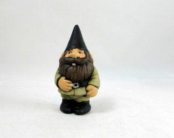 Ceramic Military Mini Garden Gnome - 4 inches -hand painted for lawn or garden, outdoor or indoor
