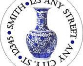 Blue White Chinoiserie, Ginger Jar Vase Stickers for use as Gift Tags, Party Favors, Address Labels & Class Parties