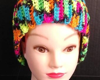 Messy Bun Hat, Bright Color Hat, Crocheted Hat, Winter Hat, Fall Hat, Women's Hat, Crocheted Beanie, Katniss Messy Bun