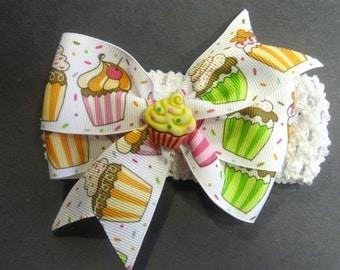 Baby Birthday Headband, Cupcake Headband, Baby Girl 1st Birthday, Baby Head Band, Cupcake Hair Bow, Toddler Hairband