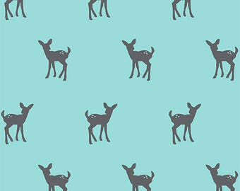 Bolt By Girl Charlee Modern Reflection Aqua Fawn Cotton Spandex Knit Fabric By the HALF Yard