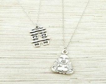 Buddha Necklace, Chinese Happiness Necklace, Layering Necklaces, Buddha, Bride, Anniversary, Double Happiness, Joy Symbol, Yoga, Zen